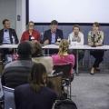 Speaker panel L-R: Elinor Olisa, Sven Krause, Karen Cham, Wyndham Lewis, James Orwell, Jana Riedel, Mike Brown