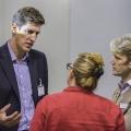 Wyndham Lewis, bima  talking to Karen Cham, KU, Peter Christian, KU