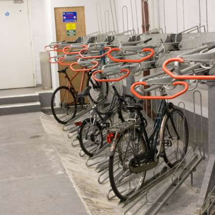 Bike rack in the basement for safe storage