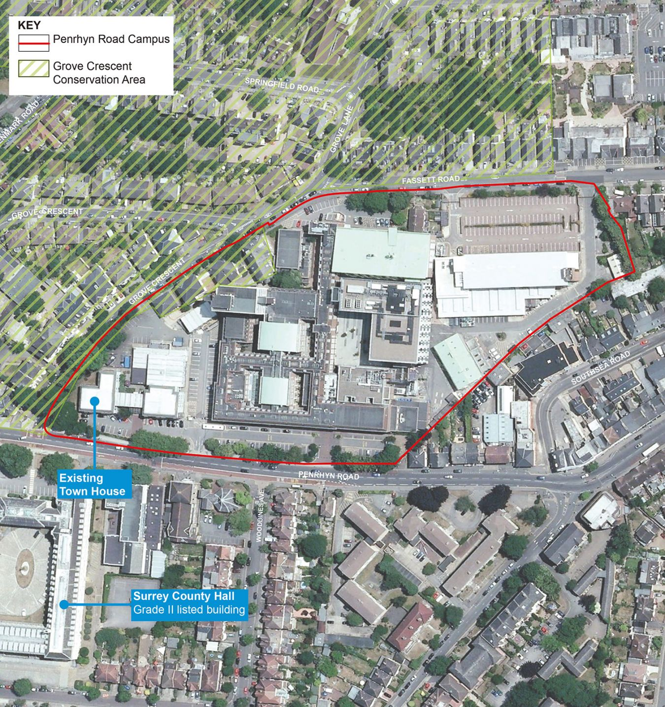 Penrhyn Road campus and its surroundings