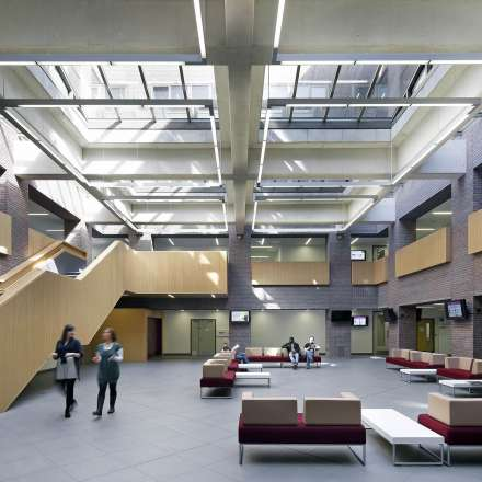 The atrium in the centre of the bulding has lots of natural light