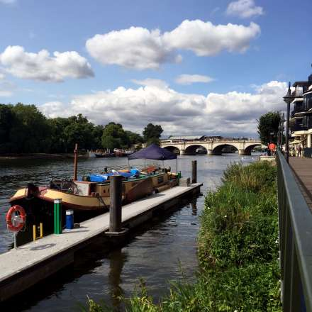 View of Kingston Bridge along the River Thames