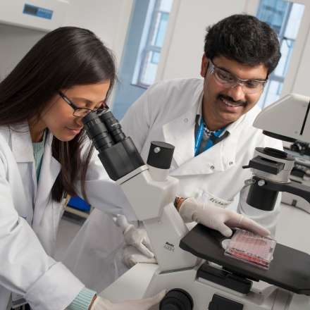 Students in life sciences laboratory