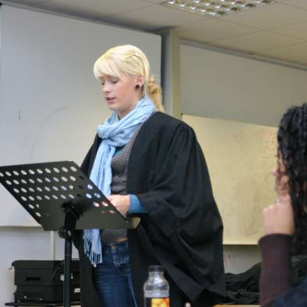 Law students doing classroom-based mooting