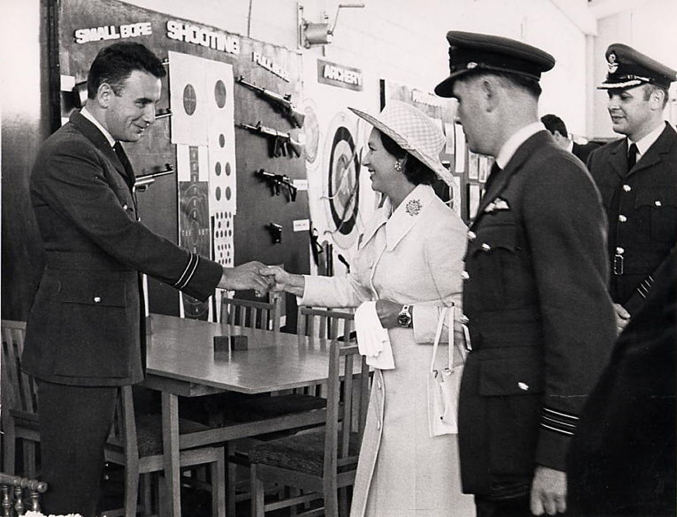 At the invitation of the Ministry of Defence Andrew took up a commission as a Flight Lieutenant in the RAF and is show here being presented to Her Royal Highness The Princess Margaret, Countess of Snowdon.