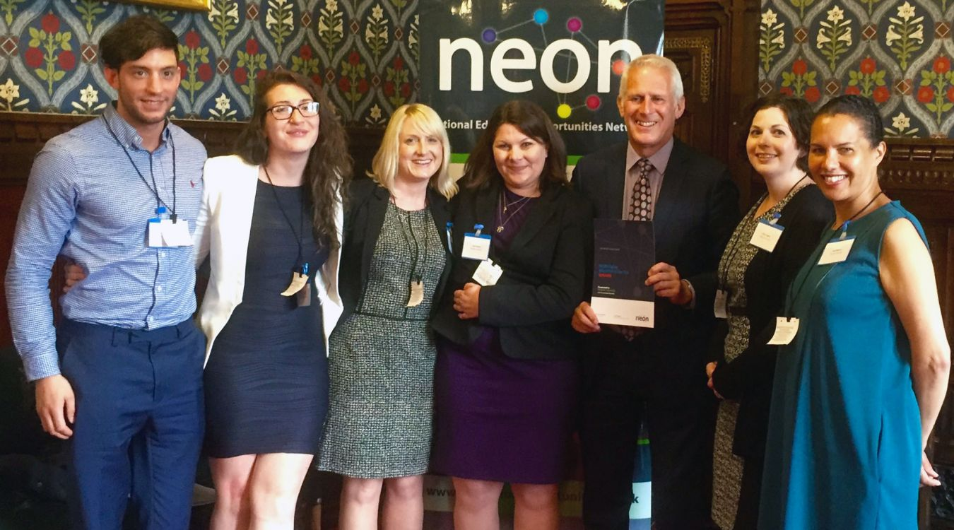 Kingston University\'s widening participation team receive the award for Higher Education Institution of the Year