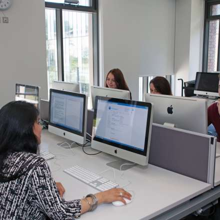 Students in computing suite at the Business School building