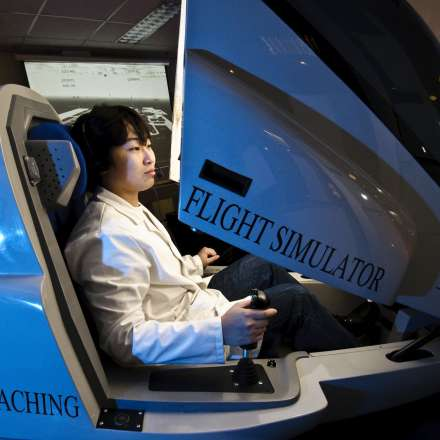 Flight simulator being demonstrated