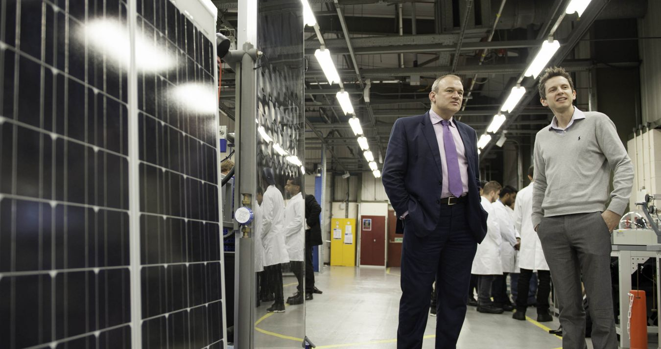 Ed Davey examines the solar simulation equipment