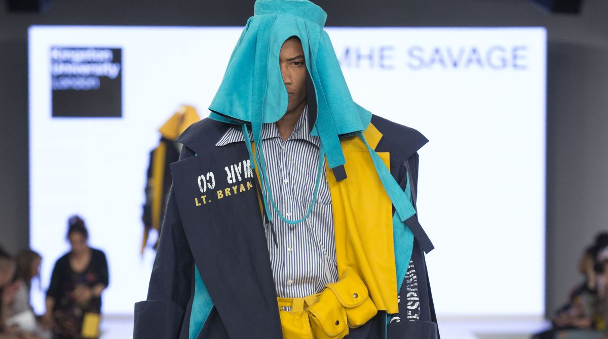 Kingston University designer Caoimhe Savage earns industry acclaim and carries off Graduate Fashion Week menswear award for military-inspired collection