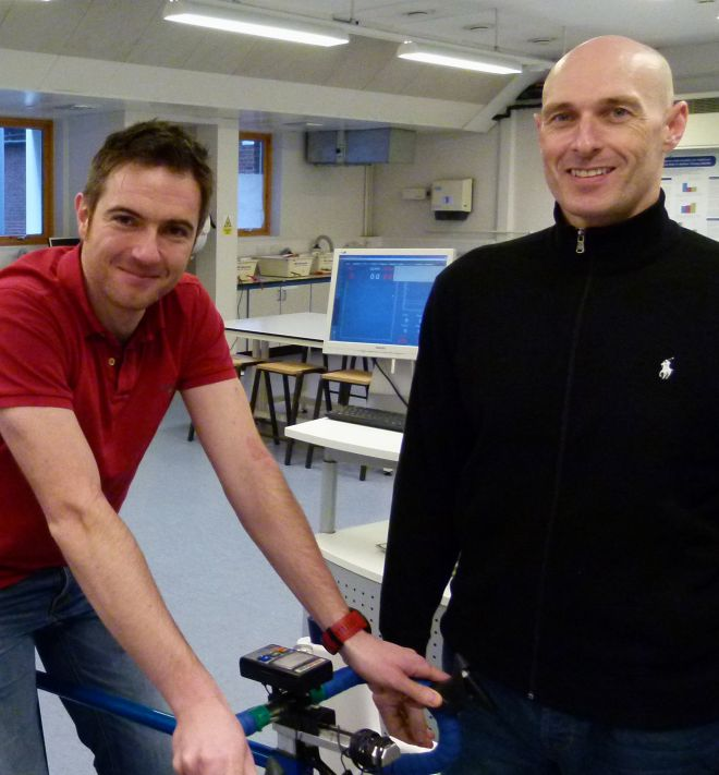 James Brouner, sport analysis lecturer, and Dr Owen Spendiff, field leader in sport science, in the sport performance laboratory at Kingston University