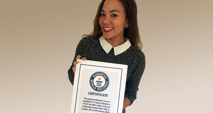 Endurance runner Susie Chan enters Guinness World Records' books after verification of 12-hour treadmill distance set at Kingston University