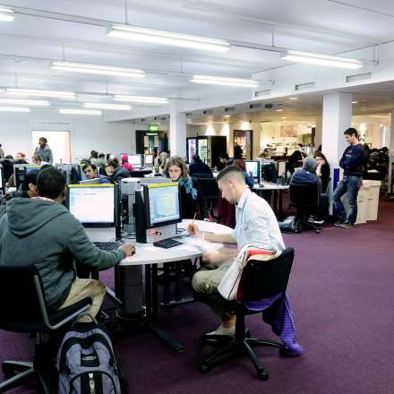 Students using the computers in the Penrhyn Road LRC