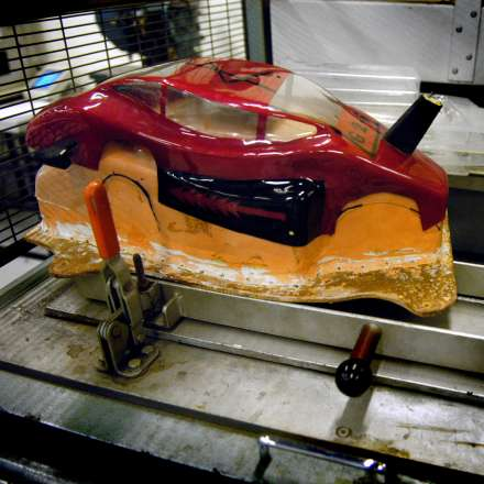 Formation of a car model for testing in the wind tunnel