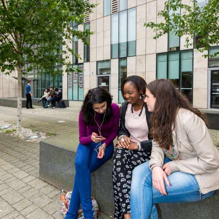 Courtyard outside John Galsworthy building on Penrhyn Road campus