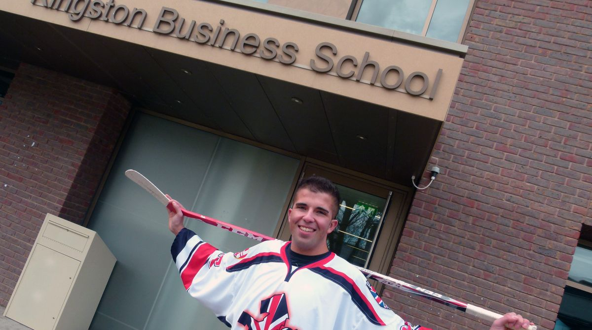 Ice hockey star skates towards success on Kingston Business School marketing course after competing at World University Winter Games