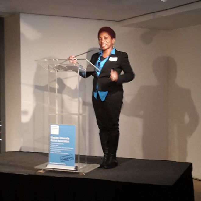 Bonnie Greer at Kingston University alumni reception in New York