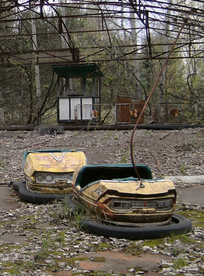 Dodgem cars in an amusement park in the abandoned city of Pripyat, near the Chernobyl nuclear power plant