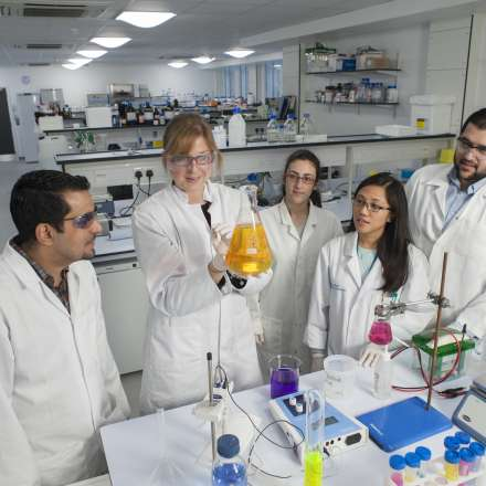 Students during a practical session in the laboratory