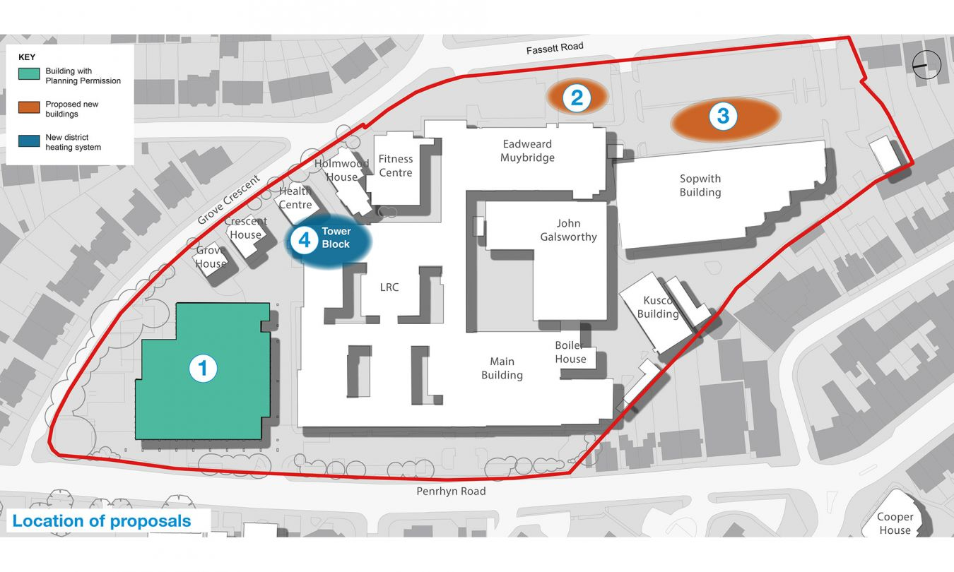 Location of proposals at Penrhyn Road campus