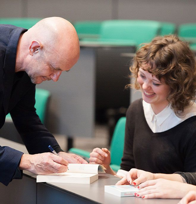 Nick Hornby signing books at the Big Read event