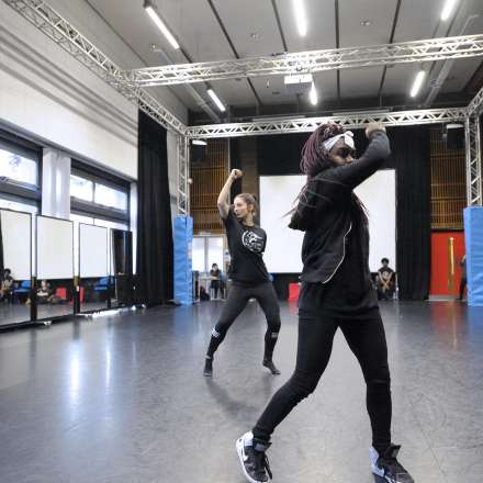 Dance students practising in our dance studio