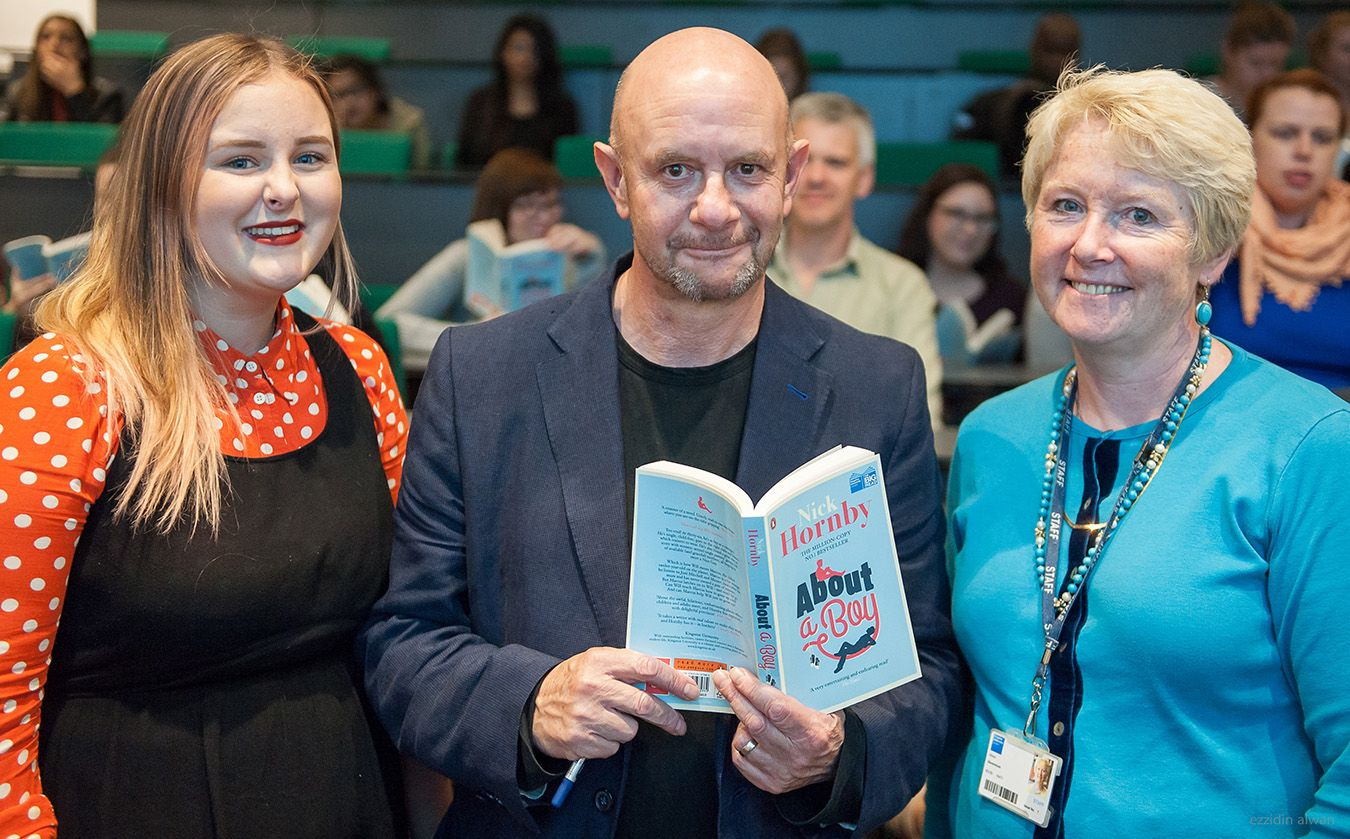 Nick Hornby with Publishing MA student Elle Waddington and Associate Professor Alison Baverstock