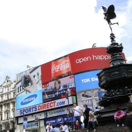 Piccadilly Circus is the heart of London's West End