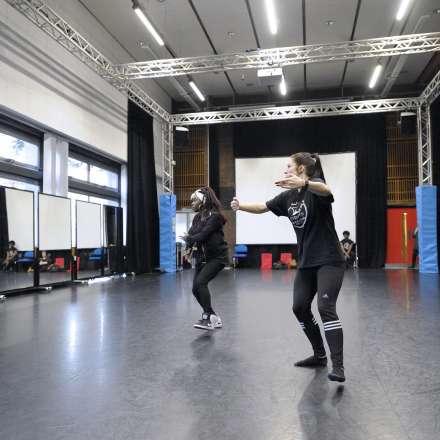 Dance students practising in our dance studio