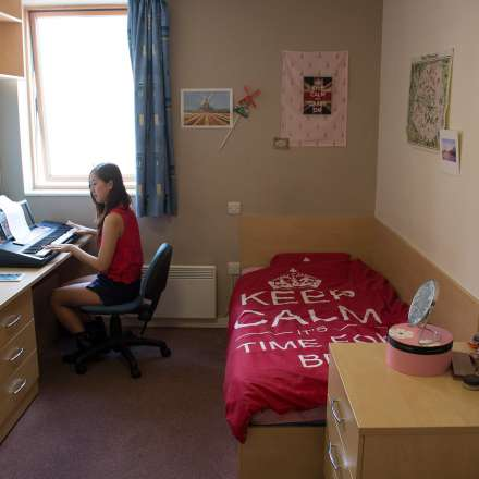 Student in room at IQ Wave halls