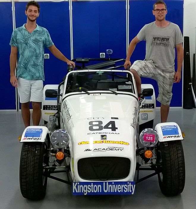 Kingston University students Andrew El Hajj (left) and Tom Hart (right) with the Caterham 7 car.