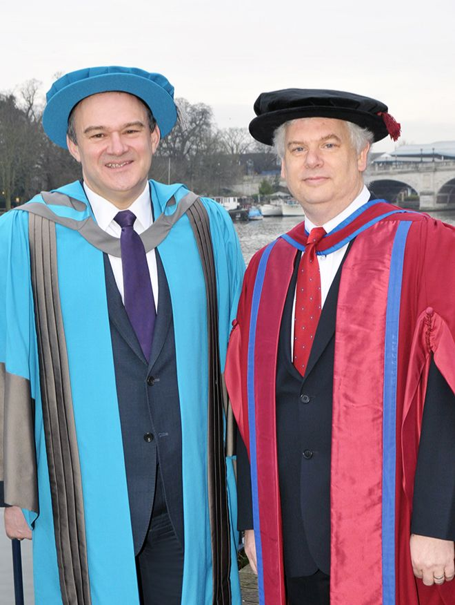 Sir Ed Davey with Professor Gavin Gillmore, Head of Energy at Kingston University
