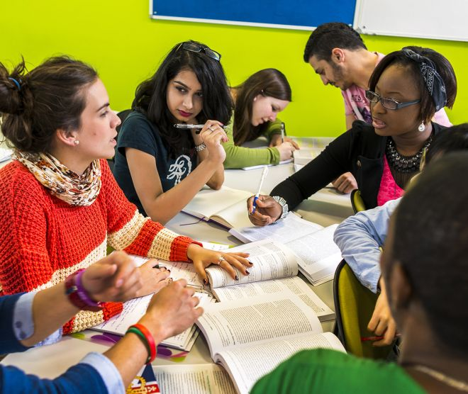 Students in a group study session at Penrhyn Road campus