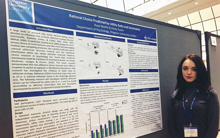 Kingston University psychology student presents at international conferences after being first undergraduate to win prestigious scholarship
