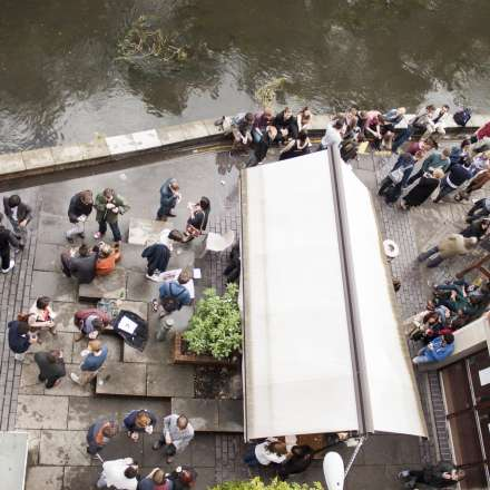 Bird's eye view of the outside space of the Students' Union bar