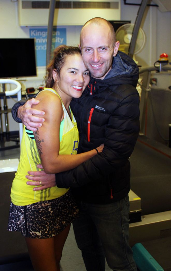 New world record holder Susie Chan celebrates her achievement with husband Shaun Marsden at Kingston University