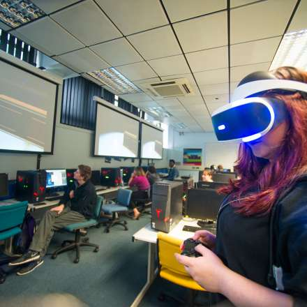Student testing virtual reality game