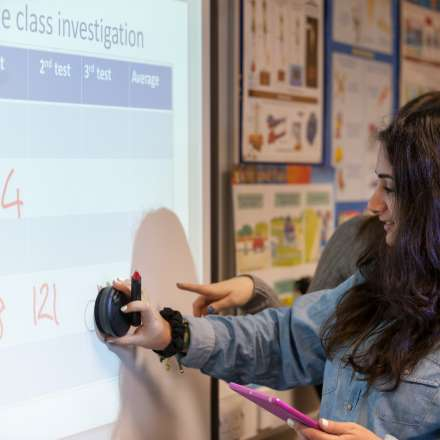 A student carrying out a school science investigation