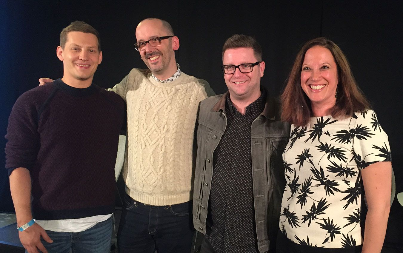 From L-R: James Sutton (actor), Duncan Craig (CEO of support organisation Survivors Manchester), Bryan Kirkwood (executive producer of Hollyoaks), Dr Joanna Jamel (senior lecturer in rriminology at Kingston University, also recently appointed to the Board of Trustees of support organisation Survivors UK).