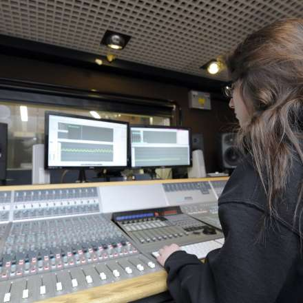 A music student using our recording studio