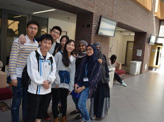 Summer school students having photos taken