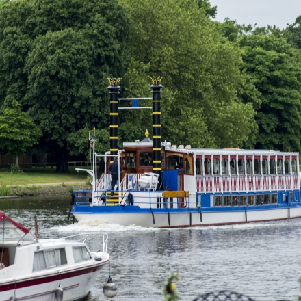 River boats travel from Kingston to Hampton Court and towards Richmond