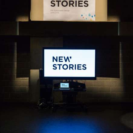 New Stories logo on screen at the Rose Theatre
