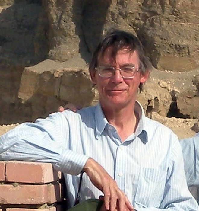Kingston University alumnus Chris King at the Great Pyramids during expedition to Fayum area of Egypt