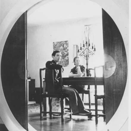 Dorich House photograph showing the moon-shaped door