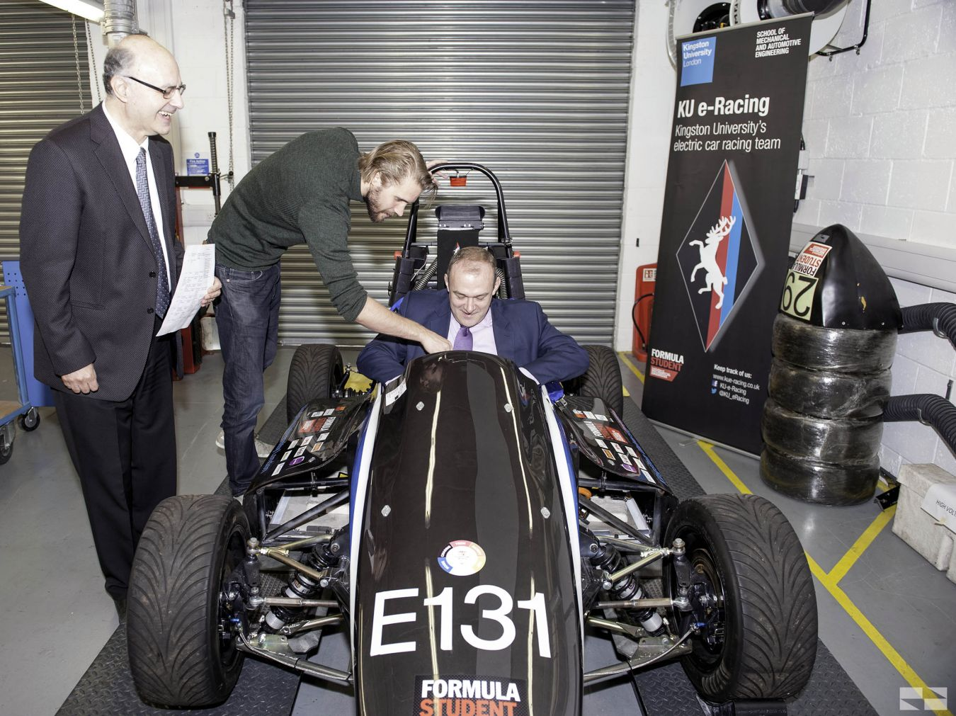 Ed Davey is shown Kingston University\'s Formula Student racing car