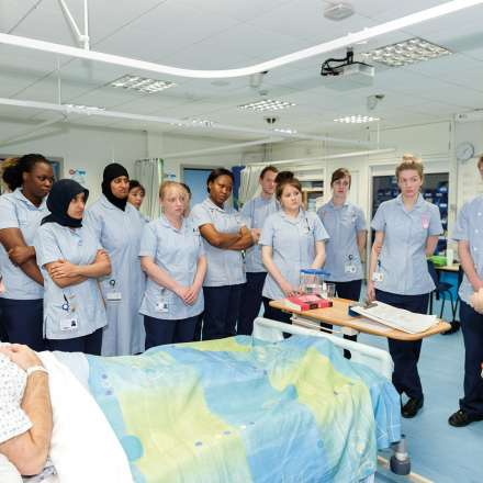 Nursing students in on-campus hospital ward