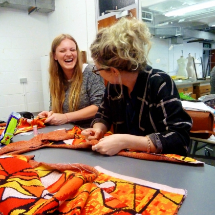 Fashion students working on their collections