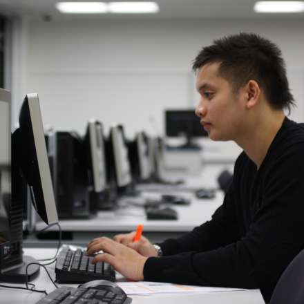 Student at work in one of the university's computer labs