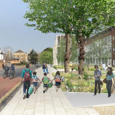The area at the front of the campus will be landscaped, creating a welcoming and attractive public space.